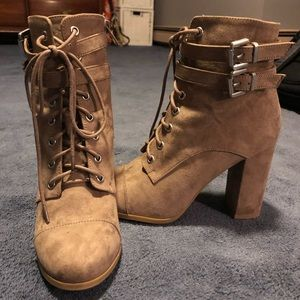 Tan/light brown lace-up booties